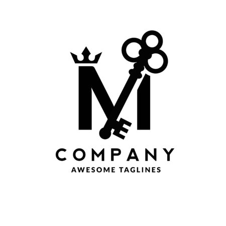 Luxury initial letter M crown and key monogram color logo vector