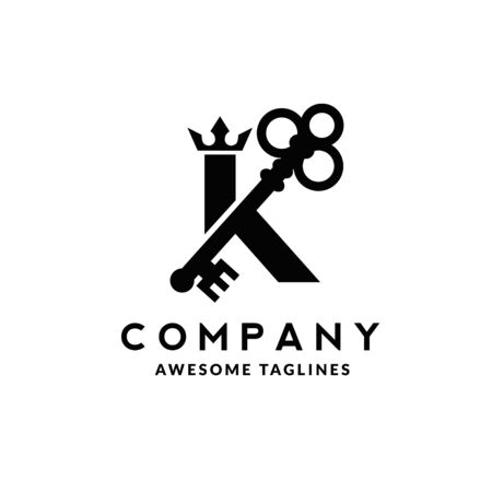 Luxury initial letter K crown and key monogram color logo vector 向量圖像