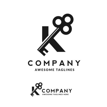 Luxury initial letter K and key monogram color logo vector 向量圖像