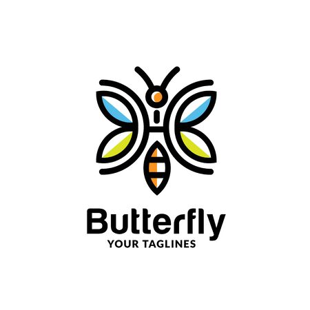 simple colorful abstract geometric line butterfly logo vector concept Illustration