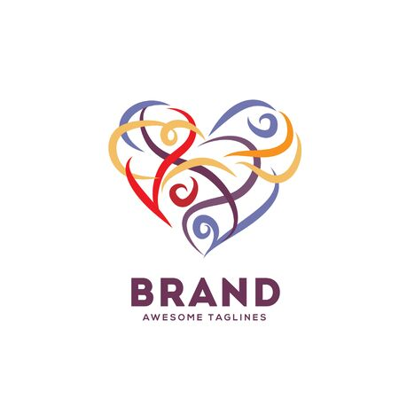 abstract hand drawn swirly heart color vector logo illustration