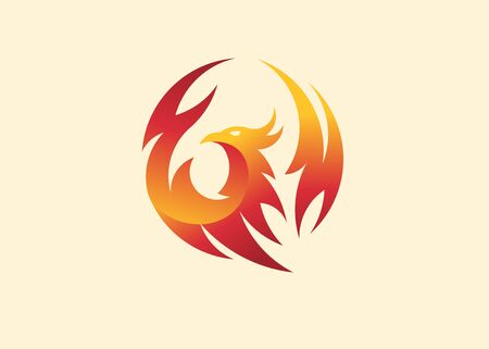 simple and elegant phoenix circle vector illustration concept suitable for all kind business, accounting, legal, management, sport, security etc.