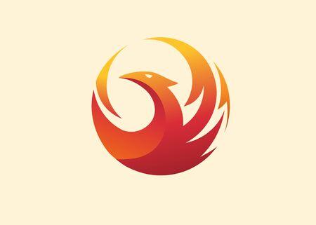 simple and elegant phoenix circle vector illustration Çizim