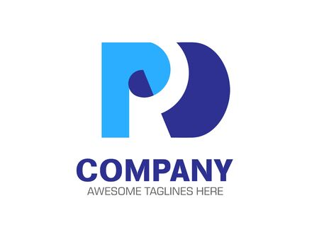 creative letter pd as a paper vector logo concept