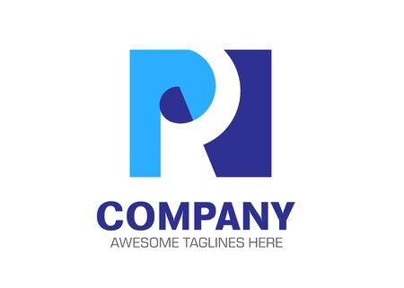 creative letter pr as a paper vector logo concept Illusztráció