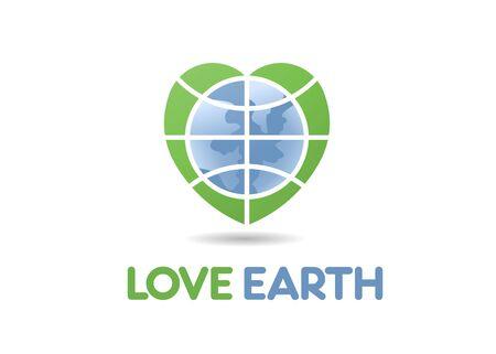 Earth world globe in a heart shape as concept of love earth logo illustration
