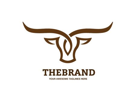 Simple and elegant bull head with long horn logo design illustration
