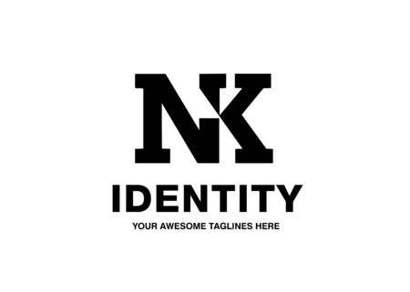 classic bold initial letter NK vector template monochrome color concept
