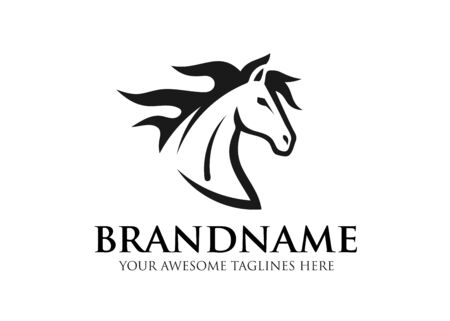 simple sign head of horse for race sport logo vector, equestrian sport vector illustration 矢量图像