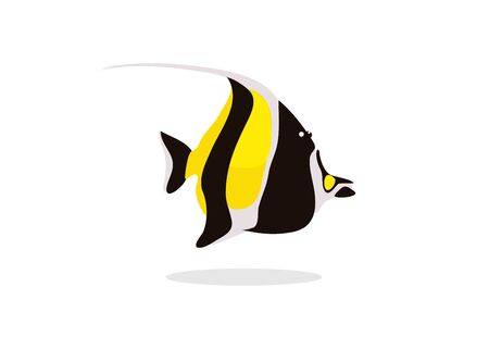 black and yellow angel fish on white background vector illustration Çizim