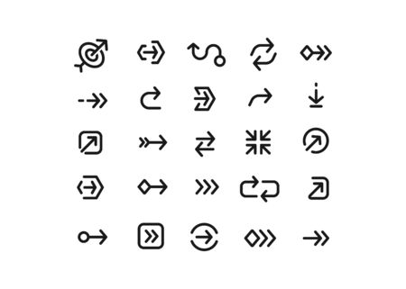 arrows collection for mobile apps, ui and web design, arrowheads isolated vector set. Digital cursors icons.