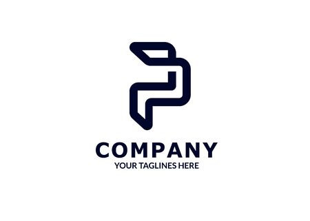 creative Initial letter p, pp logo template flat color design for business and company identity