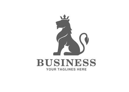 Heraldry sitting Lion with Crown Logo Mascot Vector illustration 일러스트