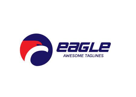 eagle heads with circle logo, creative falcon head logotype with circle, eagle head illustration Illustration