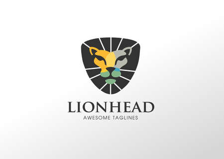 Colorful Creative Geometric Lion Head Logo Symbol Vector Design Illustration