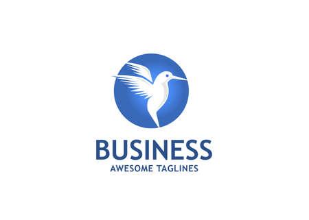 Flying Bird Logo abstract design vector template . Humming Bird Logo . Colibri Logo