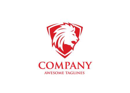 lion shield luxury logo icon, elegant lion shield logo design illustration, lion head, lion shield symbol Vectores