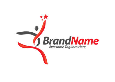 Active human characters, fitness and health abstract logo