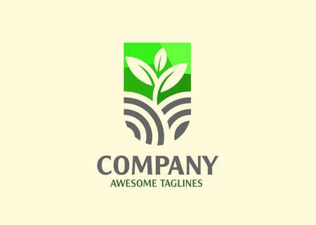 abstract sprout and Farm logo template. Organic farm icon logo. Green nature farm logo. Leaf nature design
