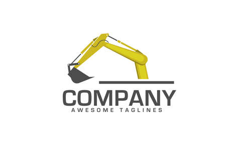 Excavators Construction machinery logo, Hydraulic mining excavator vector logo