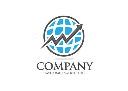 arrow up and abstract globe for Business and Financial logo design Template Vectores
