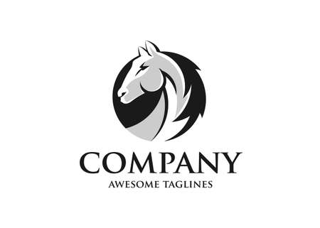 Horse Head Abstract Circle Simple Logo Template
