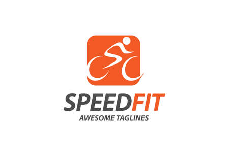 abstract simple cycling race vector logo illustration Vectores