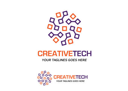 abstract circle circuit tech color logo vector