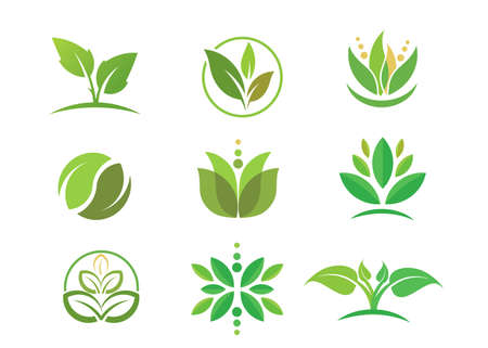 simple circle green Leaf logo vector . Bio nature green Eco vector symbols business logo template. Illustration of bio eco green, nature logo environment Vectores