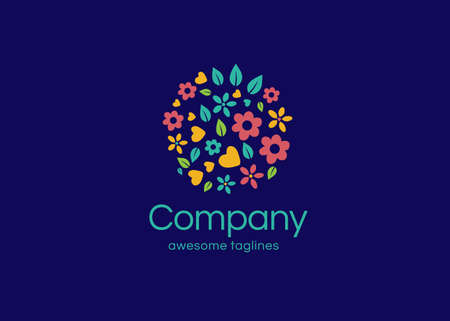 beautiful and colorful circle flower with blue background logo vector illustrations. round shape floral ornament graphic element