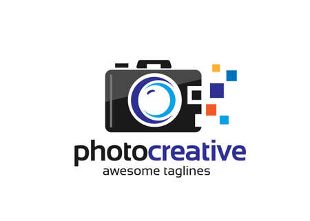 Photography design with camera vector illustration. Good template for Photography logo design. Vectores