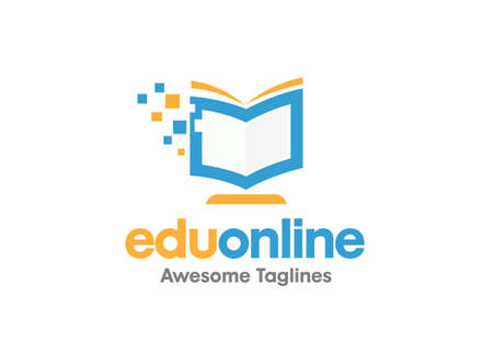Online learning logo template, pixel book education concept. Open book in monitor with pixels pointer, digital element design