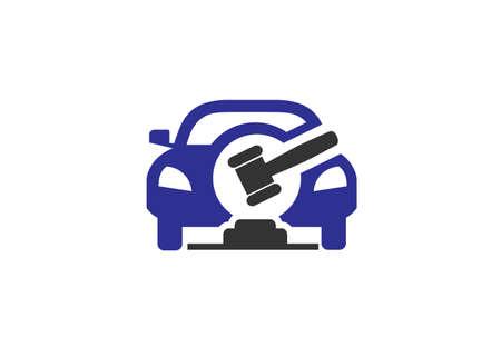 automotive Law and auction concept vector