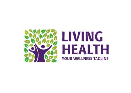 healthy living concept logo vector, Simple element illustration. healthy living concept outline symbol design Vectores