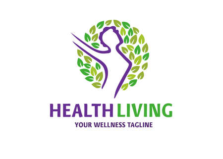 health fit woman with circle leaves logo vector