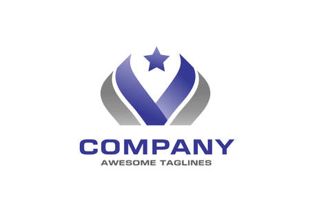 creative initial letter v and star logo vector illustration