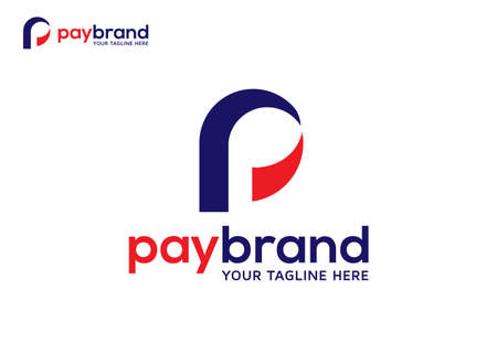 abstract simple initial letter P for Payment system logo vector