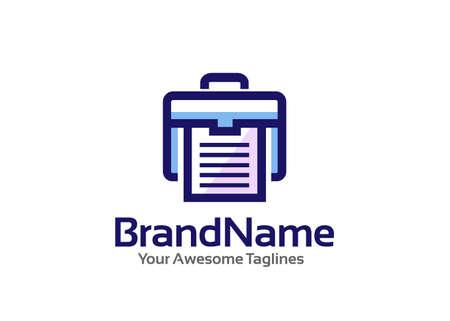 briefcase and office portfolio paper logo vector