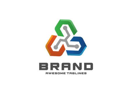 creative abstract Triangle Tech Logo Design Illustration