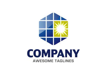 simple hexagon solar energy logo vector design