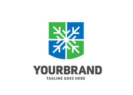 abstract snowflake symbol and shield color logo vector concept