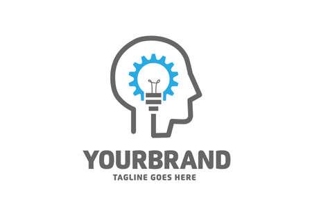 abstract human head and lamp as smart idea logo vector concept