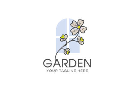 Graphical flower and windows illustration. flower line art pattern background vector. green flower