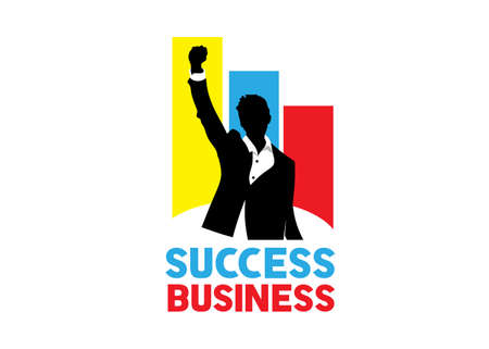 success man business silhouette with colorful background logo vector Stock Illustratie