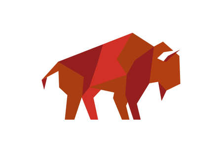 abstract standing bull geometric color vector illustration, bull Vector illustration polygon Low Poly Иллюстрация