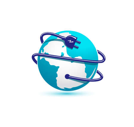 Globe and electrical plug icon isolated vector illustration
