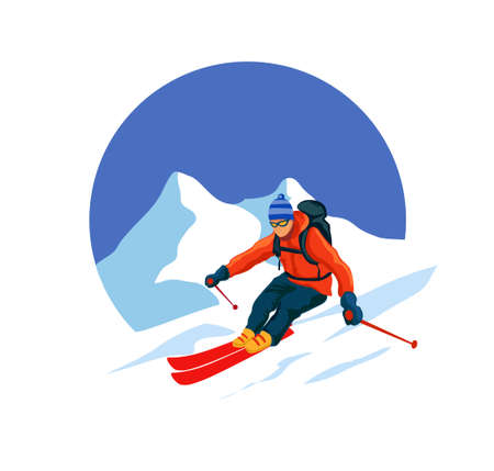 Skiers and snowboarders. Winter sport activities, people on snowboard, young skiers and snowboarders jump on mountain vector illustration