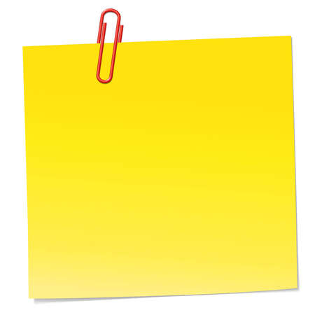 Yellow note with red paper clip. Full editable whit AI. Included gradients for change color. The paperclip are individually grouped and easy to move, scale and rotate.