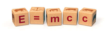 equivalence: The word e=mc2 spelled in alphabet blocks and pictogam An elephant weighs as much as a mule and two cows. 3D render. Stock Photo