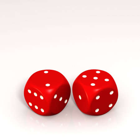 Two red dice, showing three and five in white background. photo